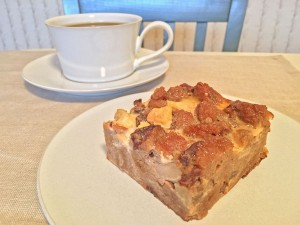 Apple Bread Pudding Slice with Coffee