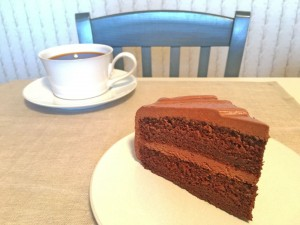 Chocolate Mayonnaise Cake Slice with Coffee