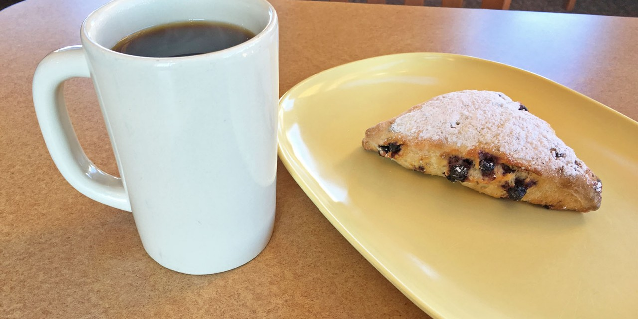 Panera Bread Blueberry Scone & Coffee