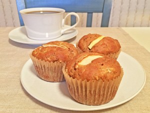 Healthy Apple-Walnut Muffins with Coffee
