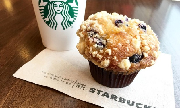 Starbucks Blueberry Muffin and Coffee