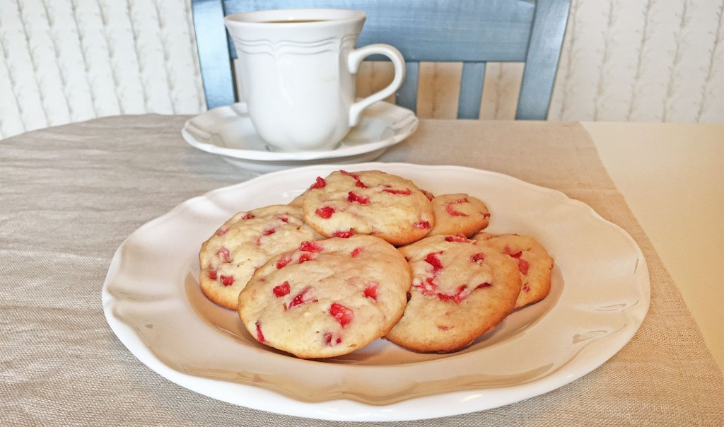 Strawberry Cream Cheese Cookies with Coffee