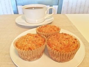 Banana Peanut Butter Oat Muffins and Coffee