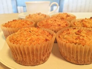 Banana Peanut Butter Oat Muffins with Coffee