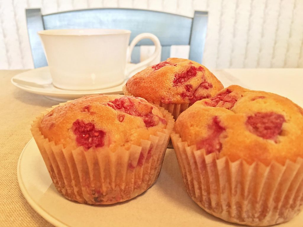 Raspberry Yogurt Muffins and Coffee