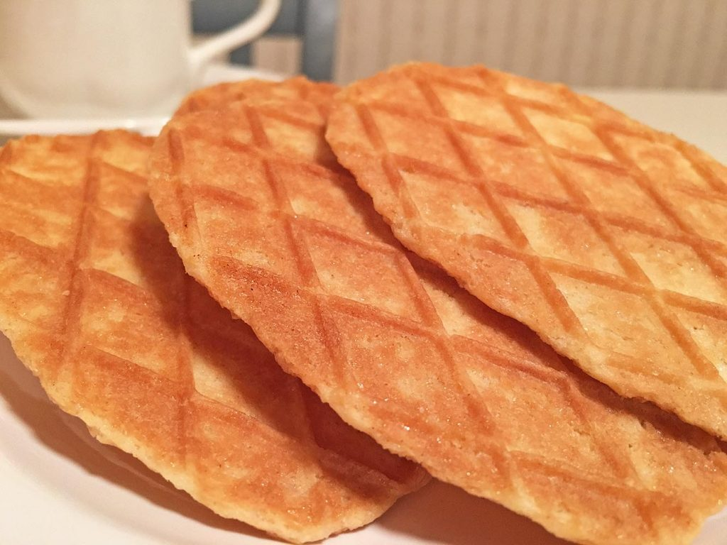 Trader Joe's Belgian Butter Waffle Cookies and Coffee