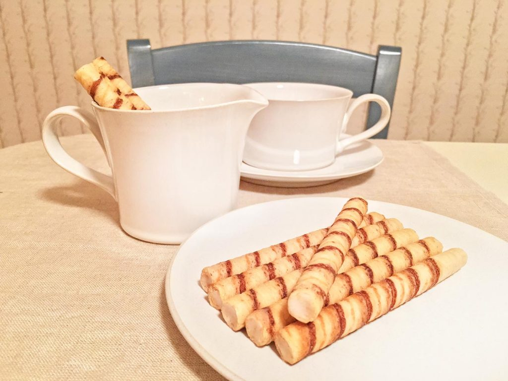 Pirouline Vanilla Wafers and Coffee