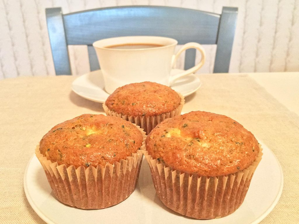 Zucchini Cream Cheese Muffins and Coffee