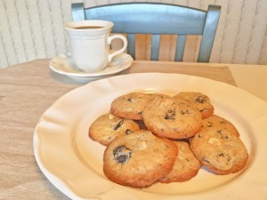 Chocolate Creme and White Chocolate Chip Cookies with Coffee