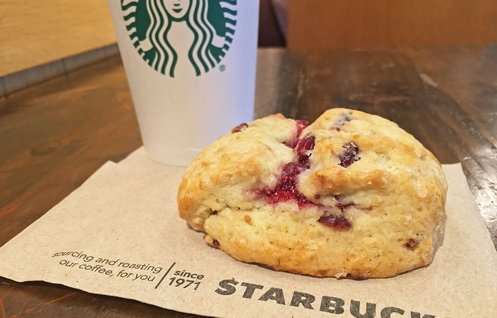 Starbucks Cranberry Orange Scone and Coffee