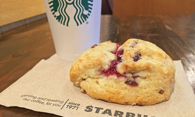 Starbucks Cranberry Orange Scone and Coffee
