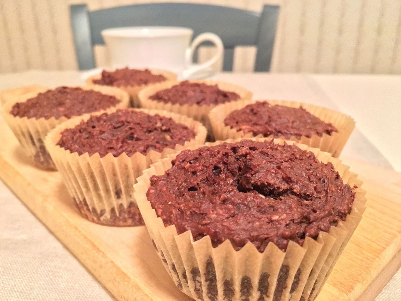 Chocolate Banana Blender Muffins with Coffee