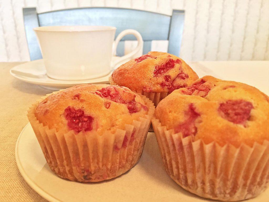 Raspberry Yogurt Muffins and Coffee