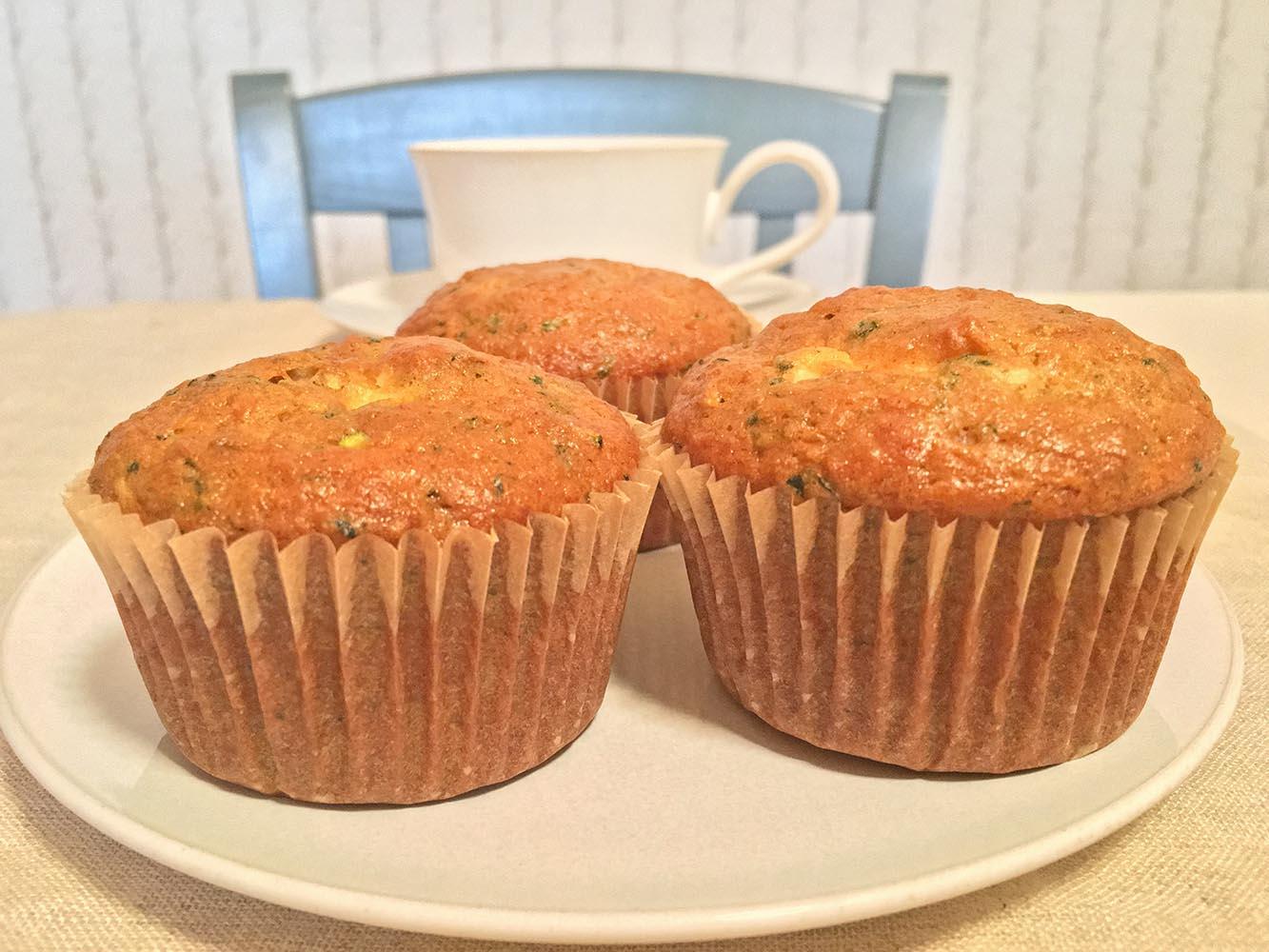 Zucchini Cream Cheese Muffins with Coffee